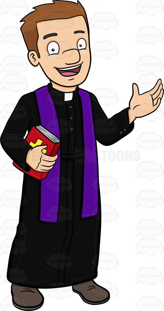 539x1024 A Happy Priest Greeting Everyone A Warm Welcome Cartoon Clipart
