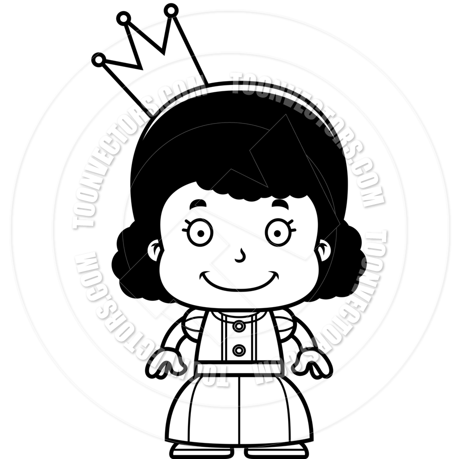 940x940 Cartoon Smiling Princess Girl (Black And White Line Art) By Cory