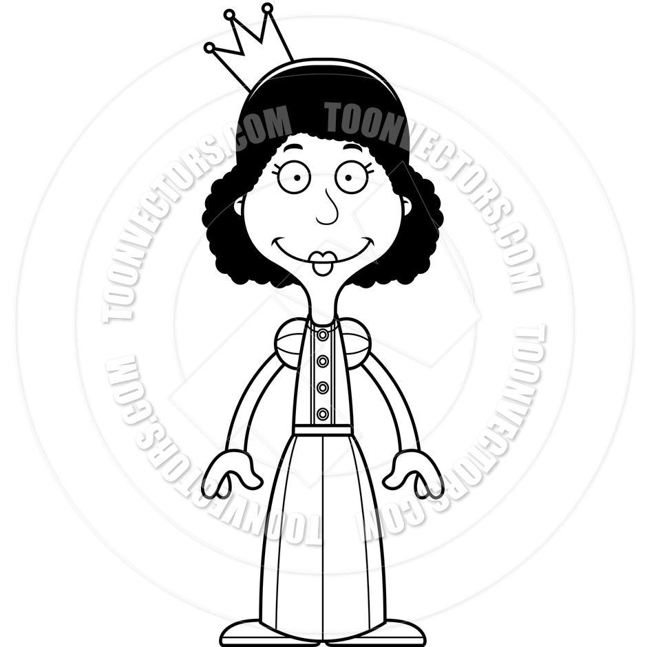 940x940 Cartoon Smiling Princess Woman (Black And White Line Art) By Cory