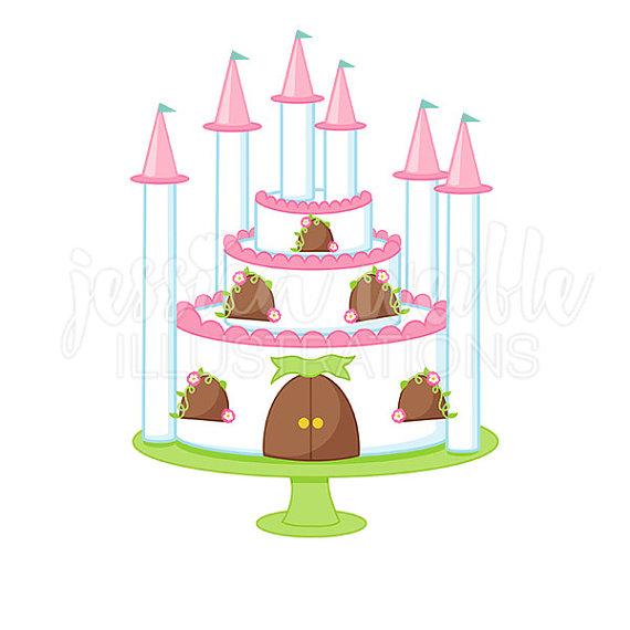 570x570 Princess Castle Cake Cute Digital Clipart, Princess Party Clip Art