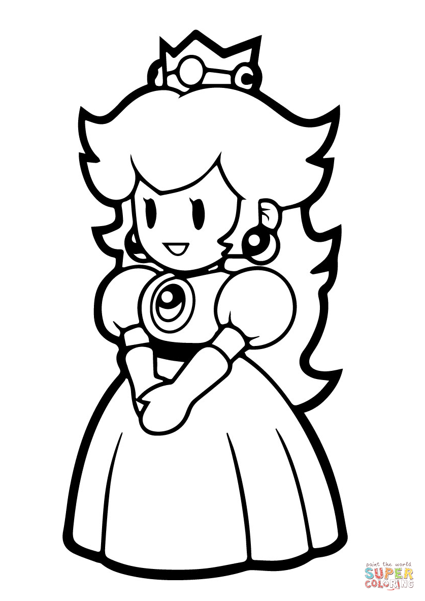 837x1183 Princess Peach Clipart Black And White