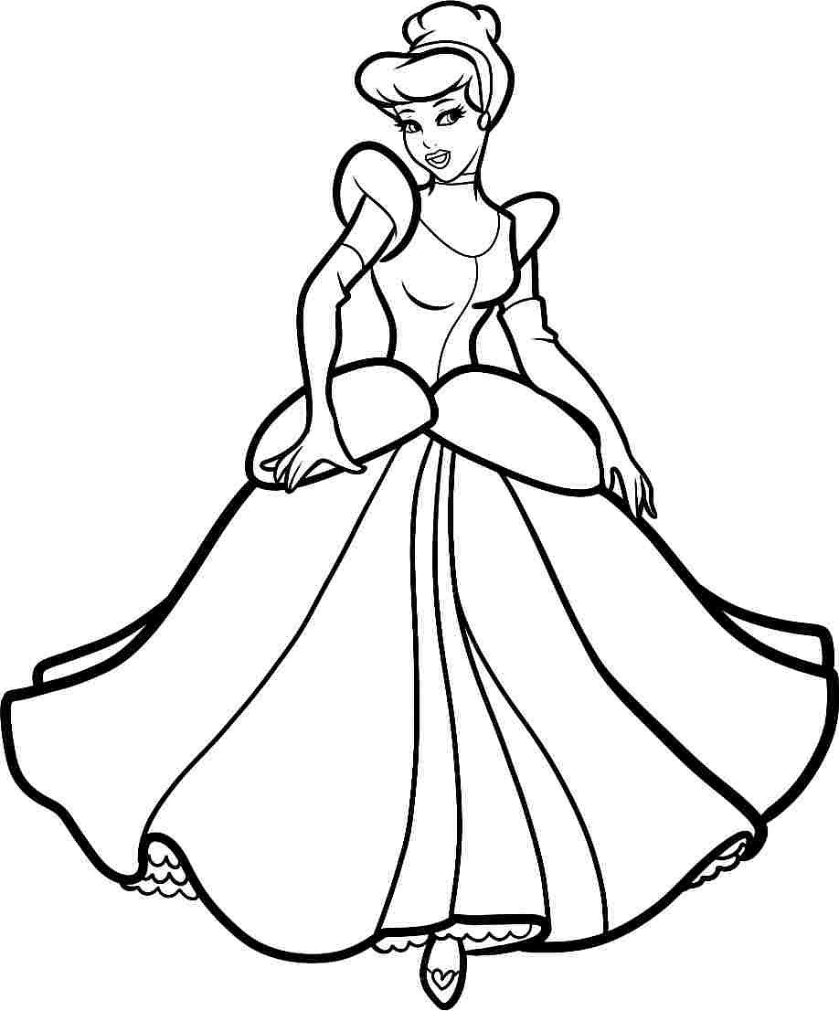 918x1106 Coloring Page Cinderella Pages 10 In Disney Throughout Princess