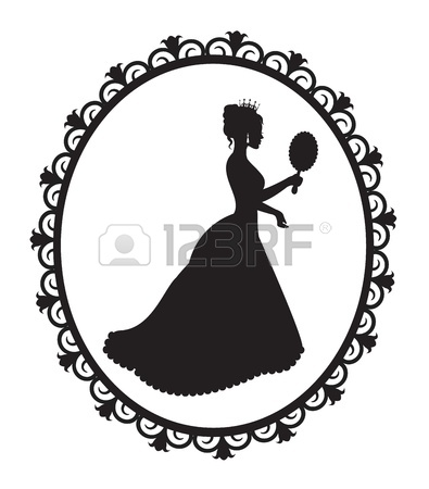 395x450 Profile In The Crown Princess In The Frame Royalty Free Cliparts