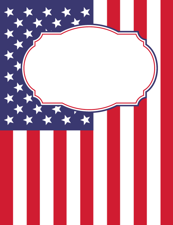 600x776 Free Printable American Flag Binder Cover Template. Download