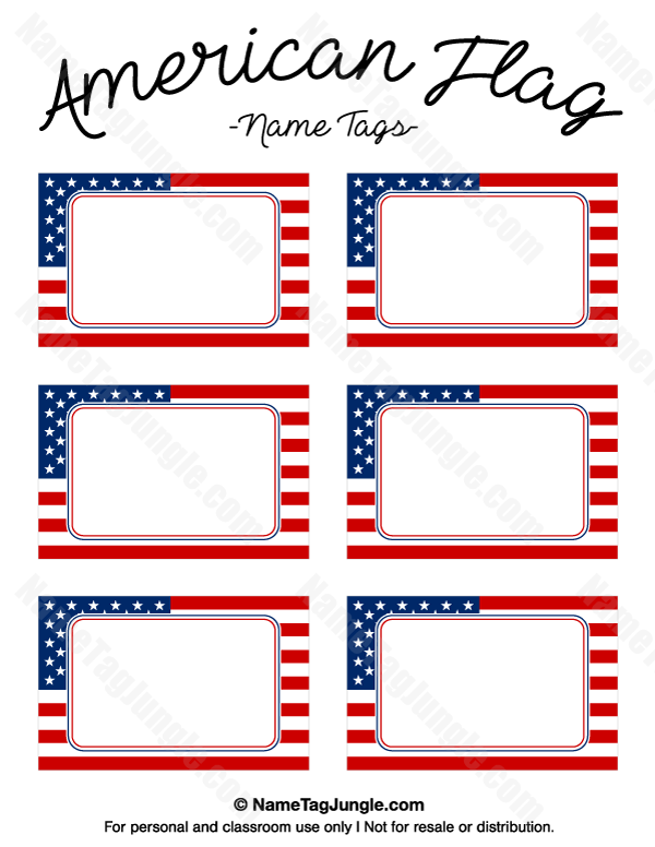 600x776 Free Printable American Flag Name Tags. The Template Can Also Be