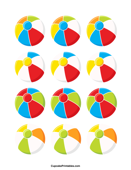 458x593 Beach Ball Cupcake Toppers. Use The Circles For Cupcakes, Party