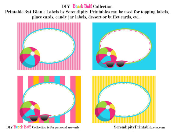 570x440 Instant Download Beach Ball Pool Printable Food Labels