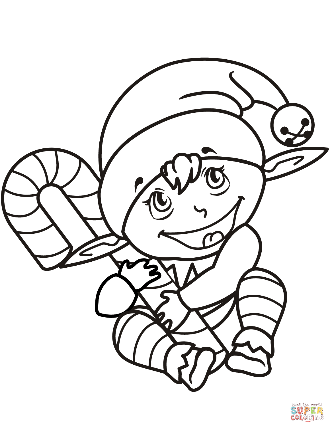 1159x1500 Cute Christmas Elf With Candy Cane Coloring Page Free Printable