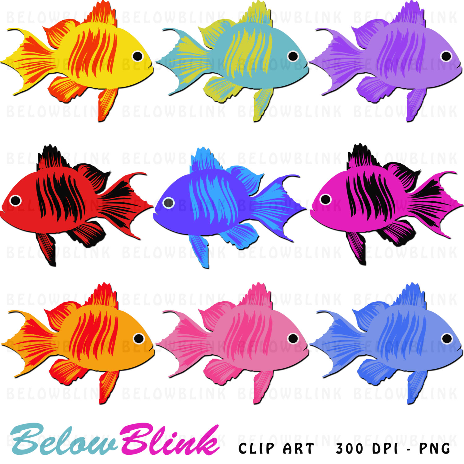 1500x1500 Cute Colorful Fish Clipart Clip Art Digital Scrapbooking