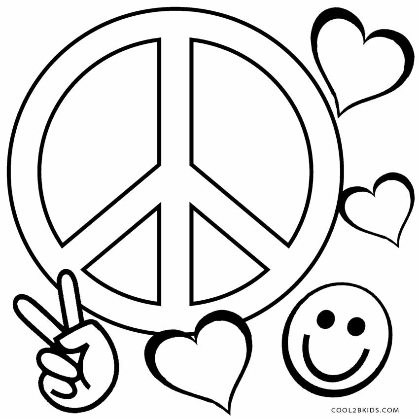850x850 Free Printable Peace Sign Coloring Pages Cool2bkids
