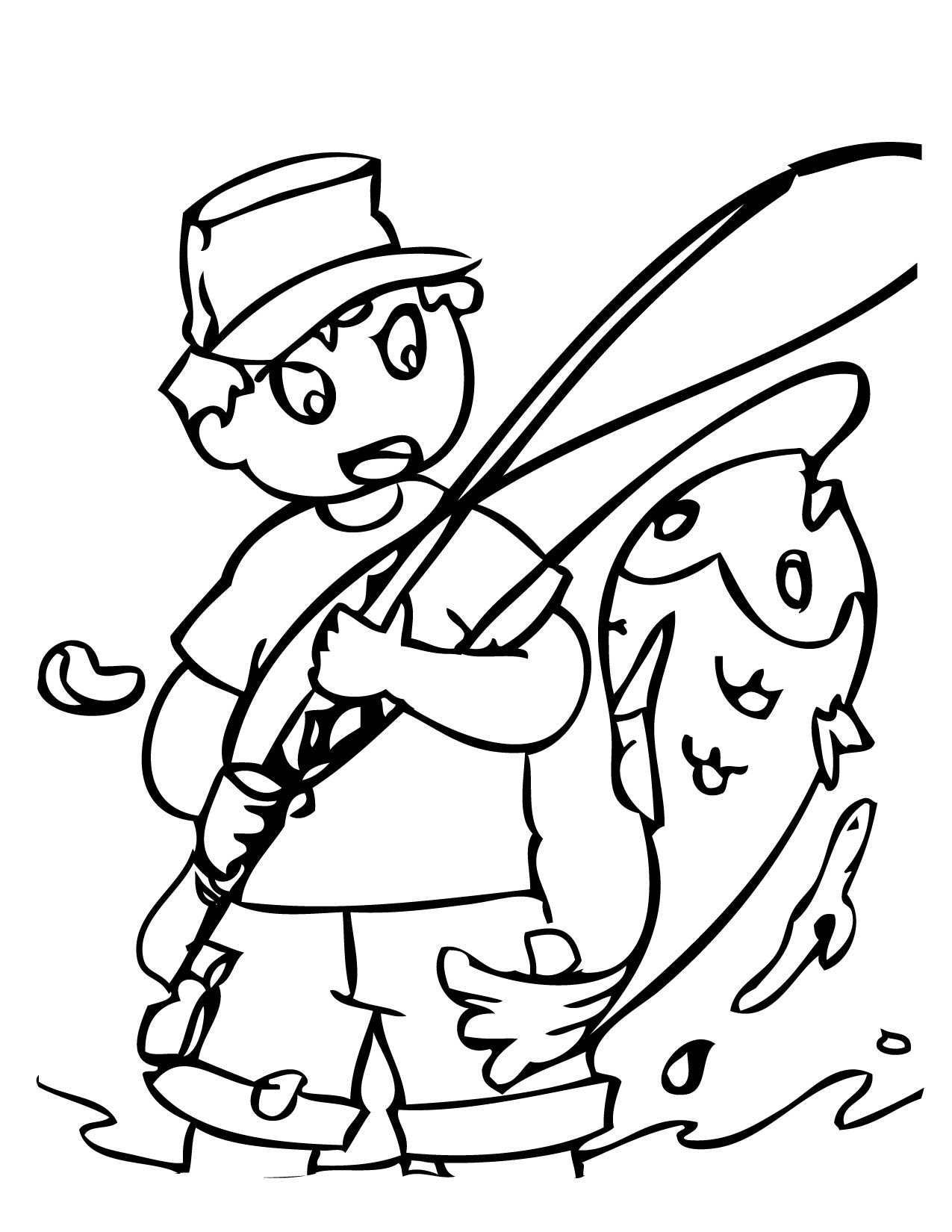coloring pages of fishing - photo#5