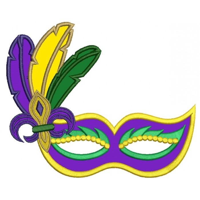 700x700 Mardi Gras Mask With Feathers And Fleur De Lis Applique Machine