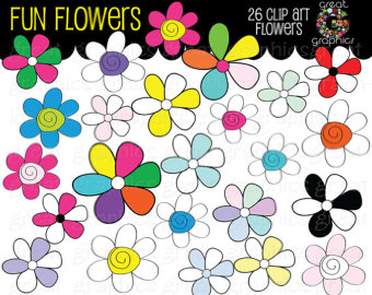 340x270 Flower Clipart Digital Clip Art Flowers Whimsical Flowers