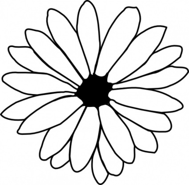 626x614 Traceable Flower Outlines