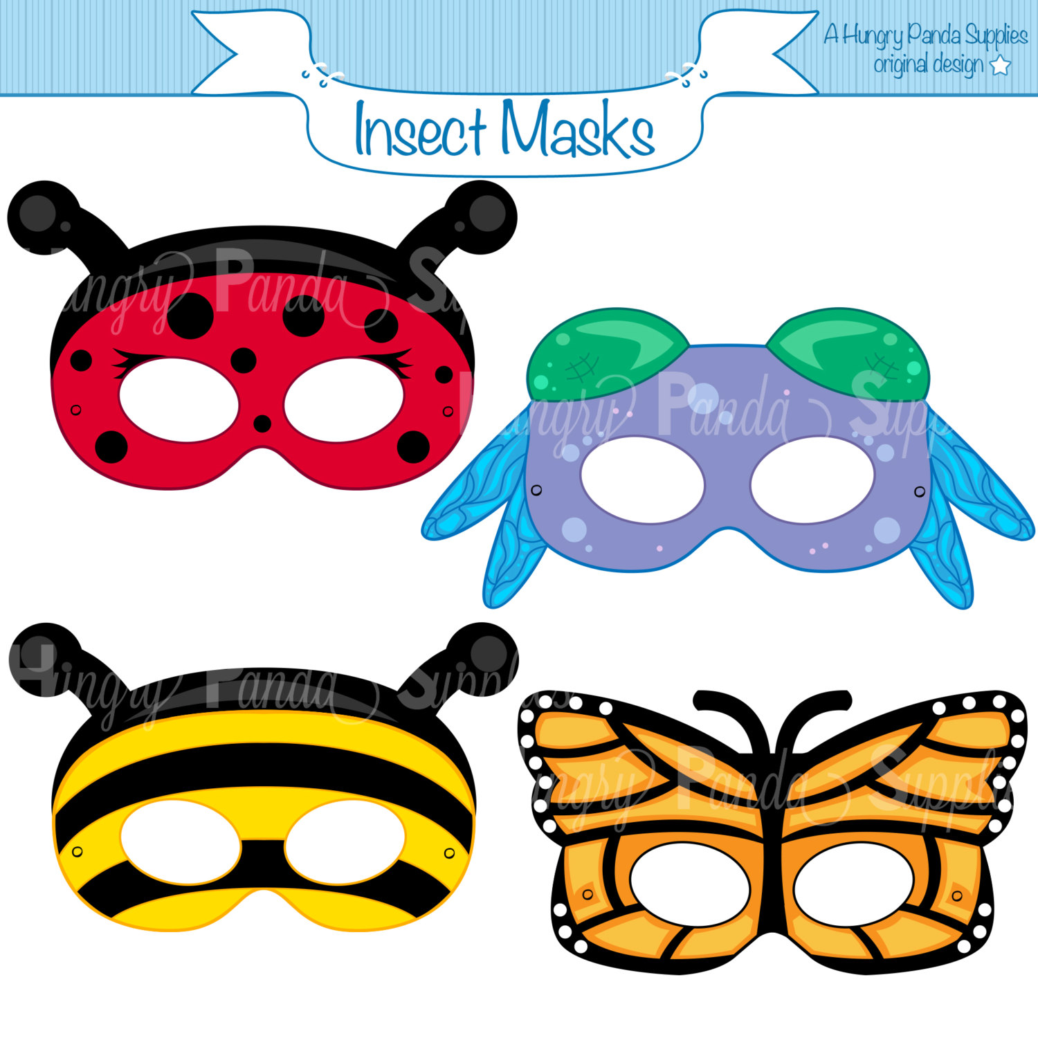 1500x1500 Insects Printable Masks Insect Masks Ladybug Mask Bee Mask