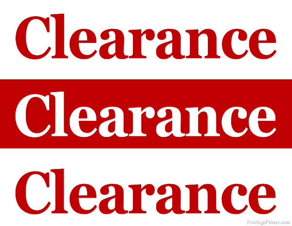 600x464 Printable Clearance Sale Sign