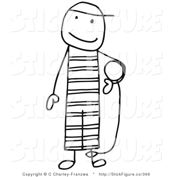 600x620 Clip Art of a Stick Figure Person Criminal Prisoner Carrying the