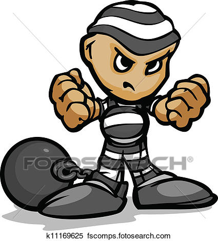 425x470 Clipart of Tough Guy Cartoon Prisoner with Ball and Chain Vector