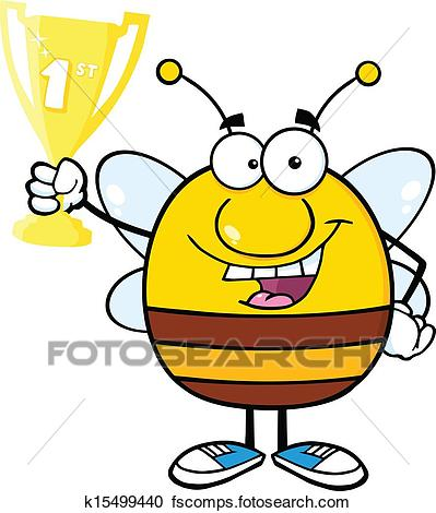 399x470 Clipart Of Bee Holding First Prize Trophy Cup K15499440