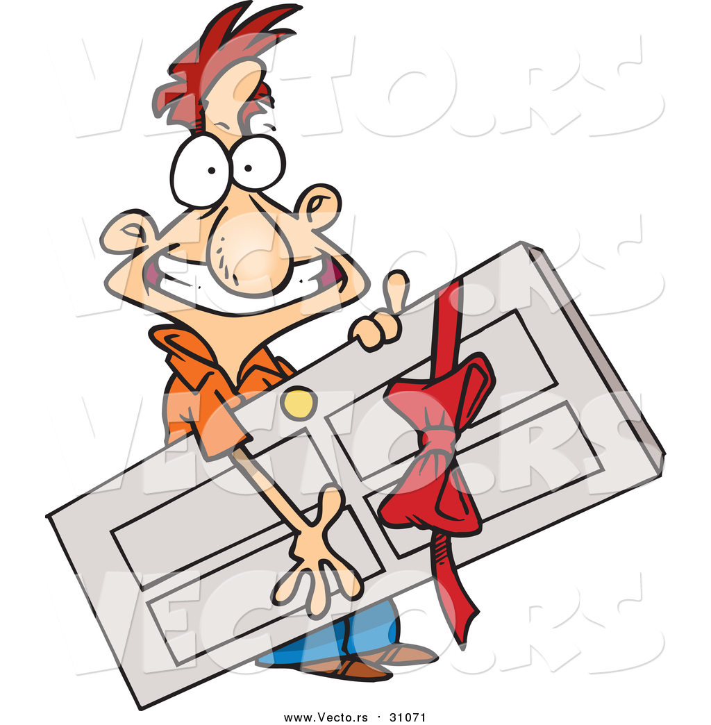 1024x1044 Vector Of A Cartoon Grinning White Man Carrying A Door Prize By