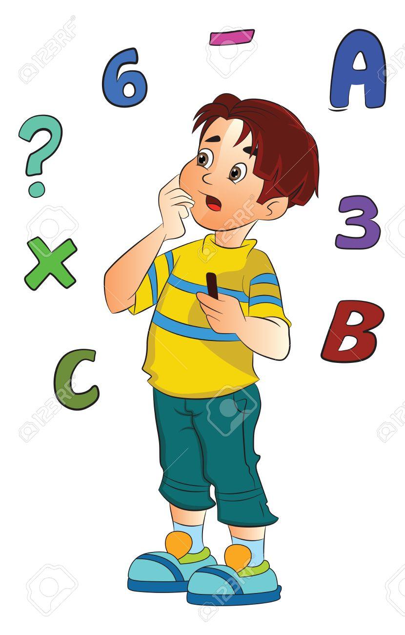 830x1300 Boy Solving A Math Problem, Vector Illustration Royalty Free