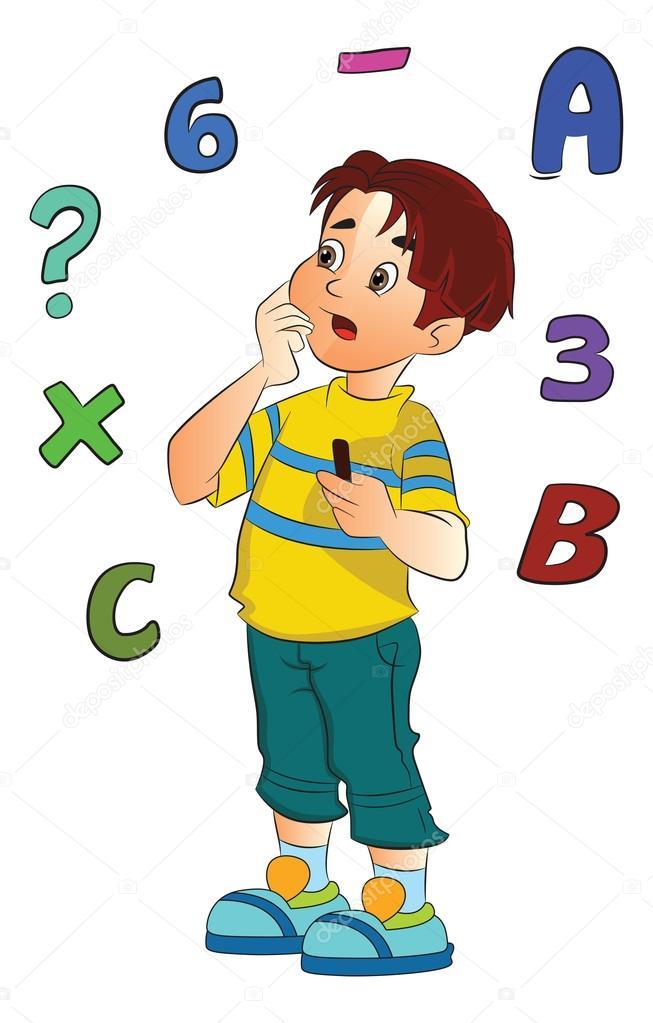 653x1023 Boy Solving A Math Problem, Illustration Stock Vector Morphart