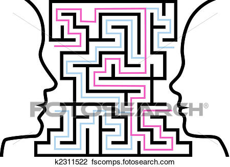 450x328 Clipart Of Man Woman Outline Profiles Face A Puzzle In Maze