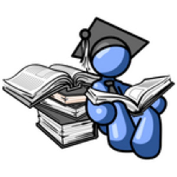 600x600 Clip Art Graphic Of A Blue Guy Character In A Graduation Cap