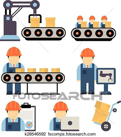 413x470 Clipart Of Production Process Vector Illustration K28546592