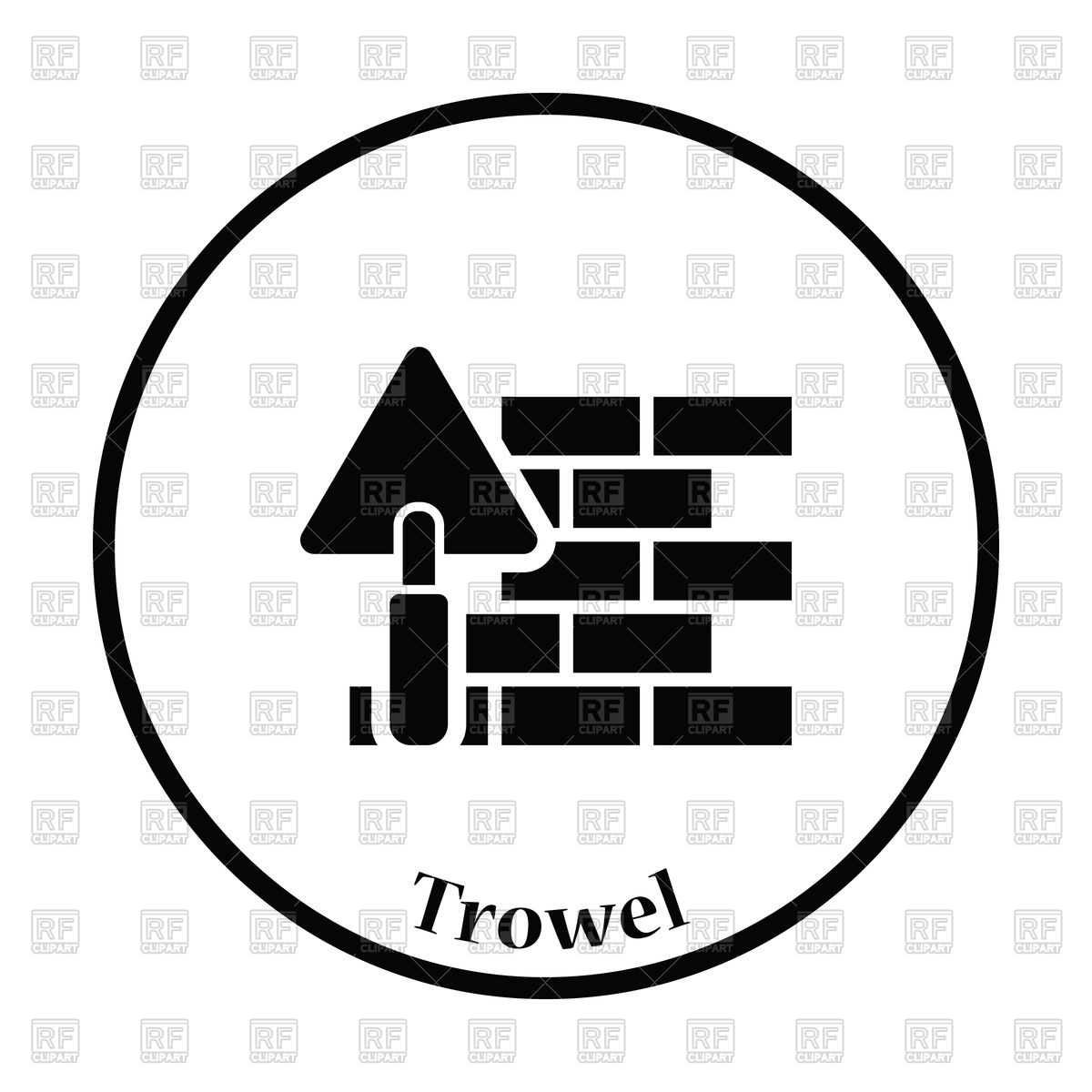 1200x1200 Icon Of Brick Wall With Trowel, Bricklaying Process Royalty Free