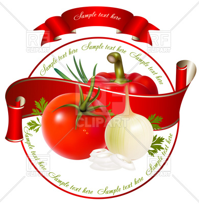 390x400 Label For A Product (Ketchup, Sauce) With Vegetables Royalty Free