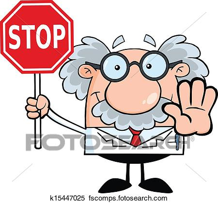450x419 Clipart Of Professor Holding A Stop Sign K15447025
