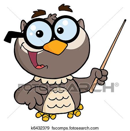 450x455 Clip Art Of Professor Owl Cartoon Character K6432379