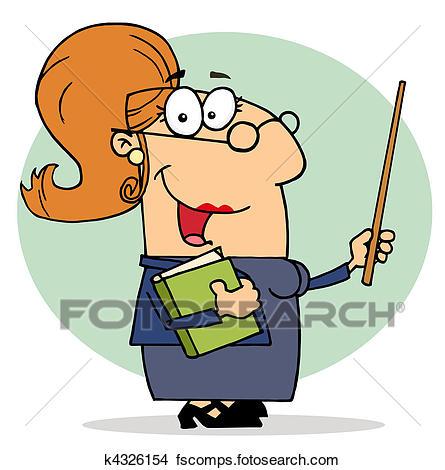 445x470 Clipart Of Happy Professor Woman K4326154