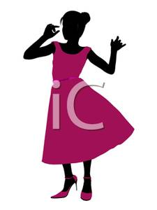 225x300 Free Clipart Image A Dancing Girl In A Pink Prom Dress
