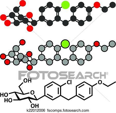450x441 Clip Art Dapagliflozin Diabetes Drug Molecule. Inhibitor