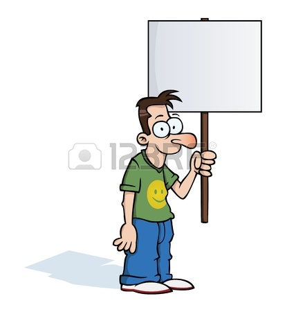 412x450 Angry Man Holding A Protest Sign Royalty Free Cliparts, Vectors