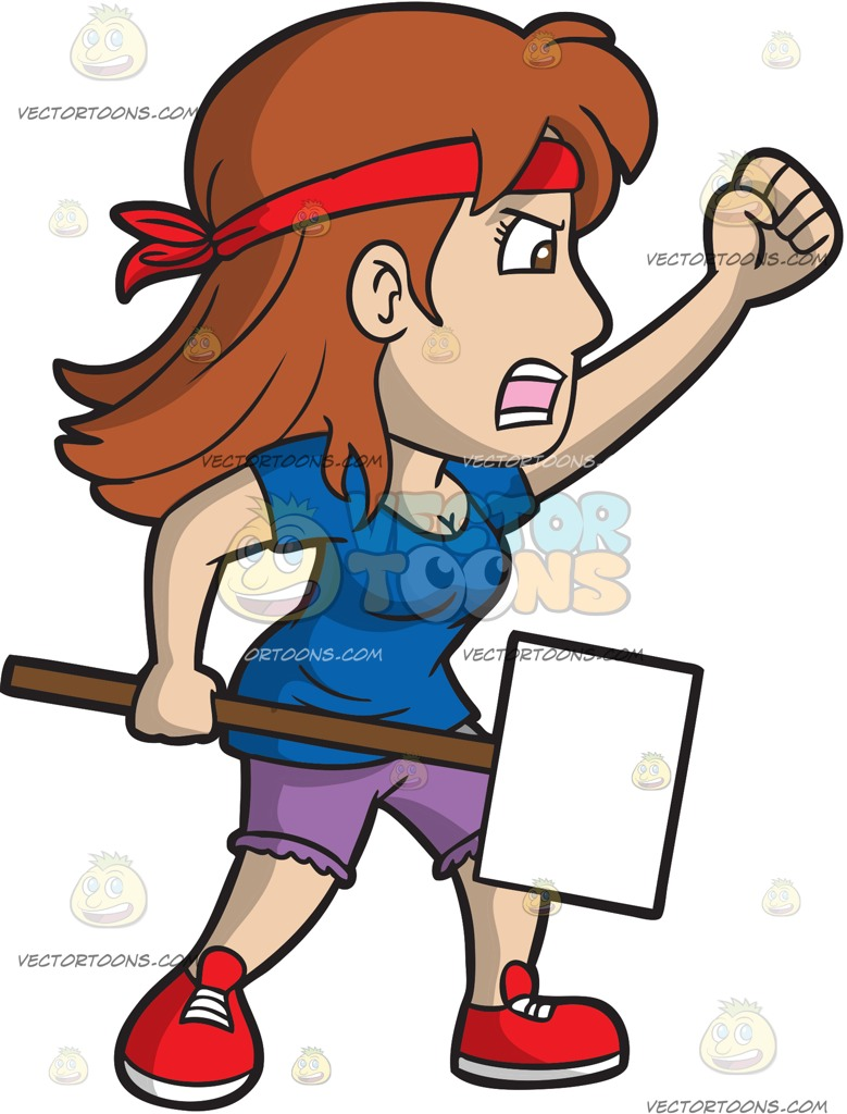 779x1024 A Female Street Protester Cartoon Clipart