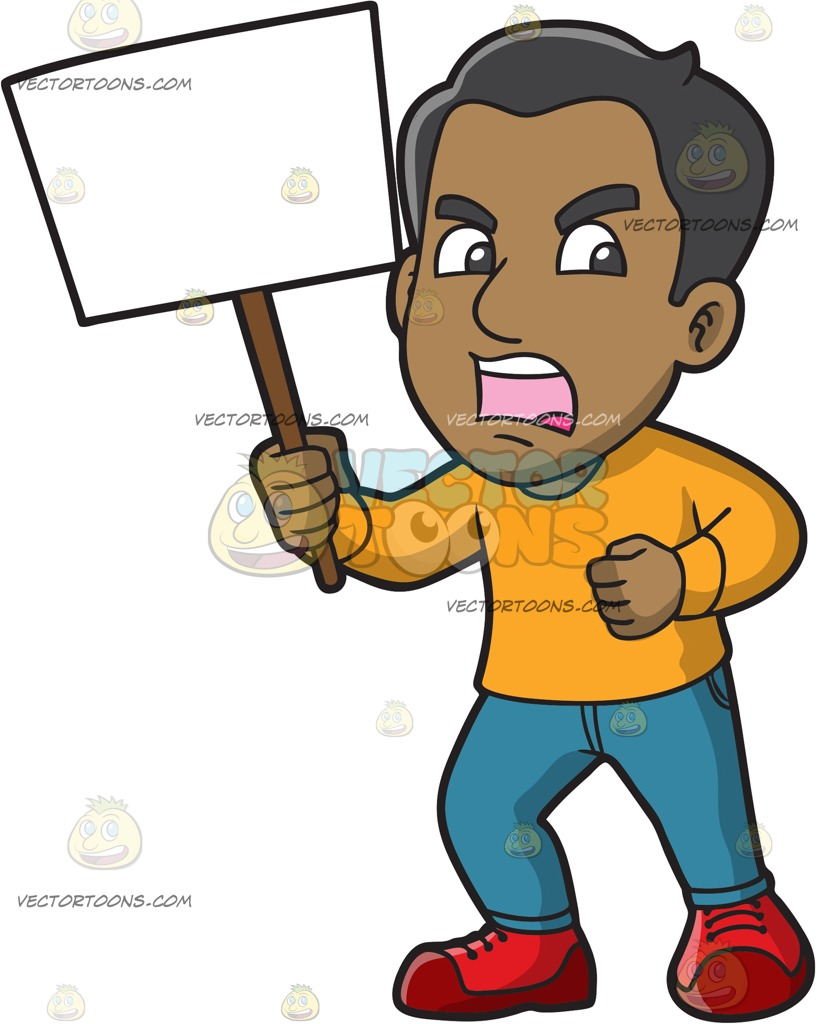 817x1024 A Furious Man In Protest Cartoon Clipart