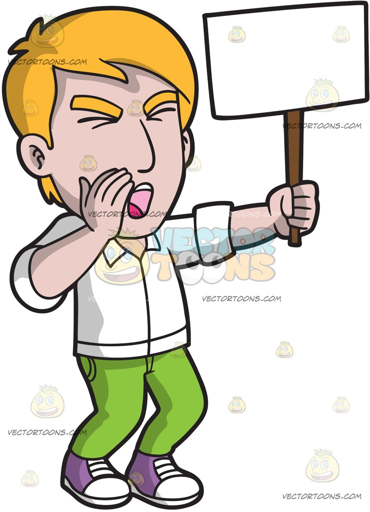 741x1024 A Man Protesting A Cause Passionately On The Streets Cartoon