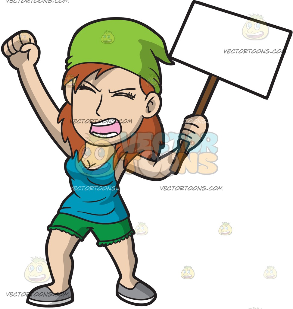 973x1024 A Woman Fighting For Her Cause Cartoon Clipart