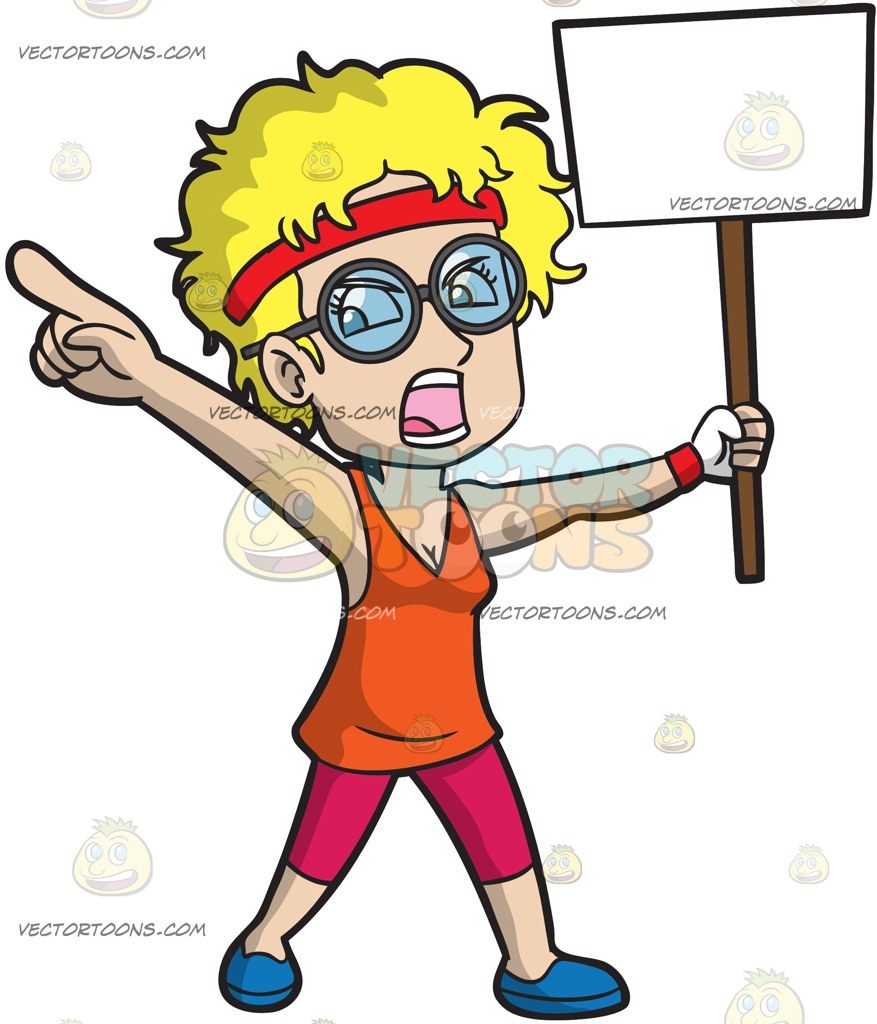 877x1024 An Outspoken Woman Protesting A Cause Cartoon Clipart