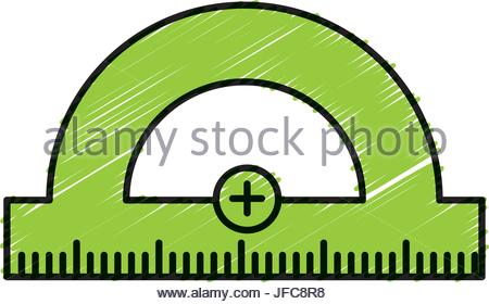 450x280 Ruler Icon. Ruler Symbol. Protractor. Office Supply Objects. Flat