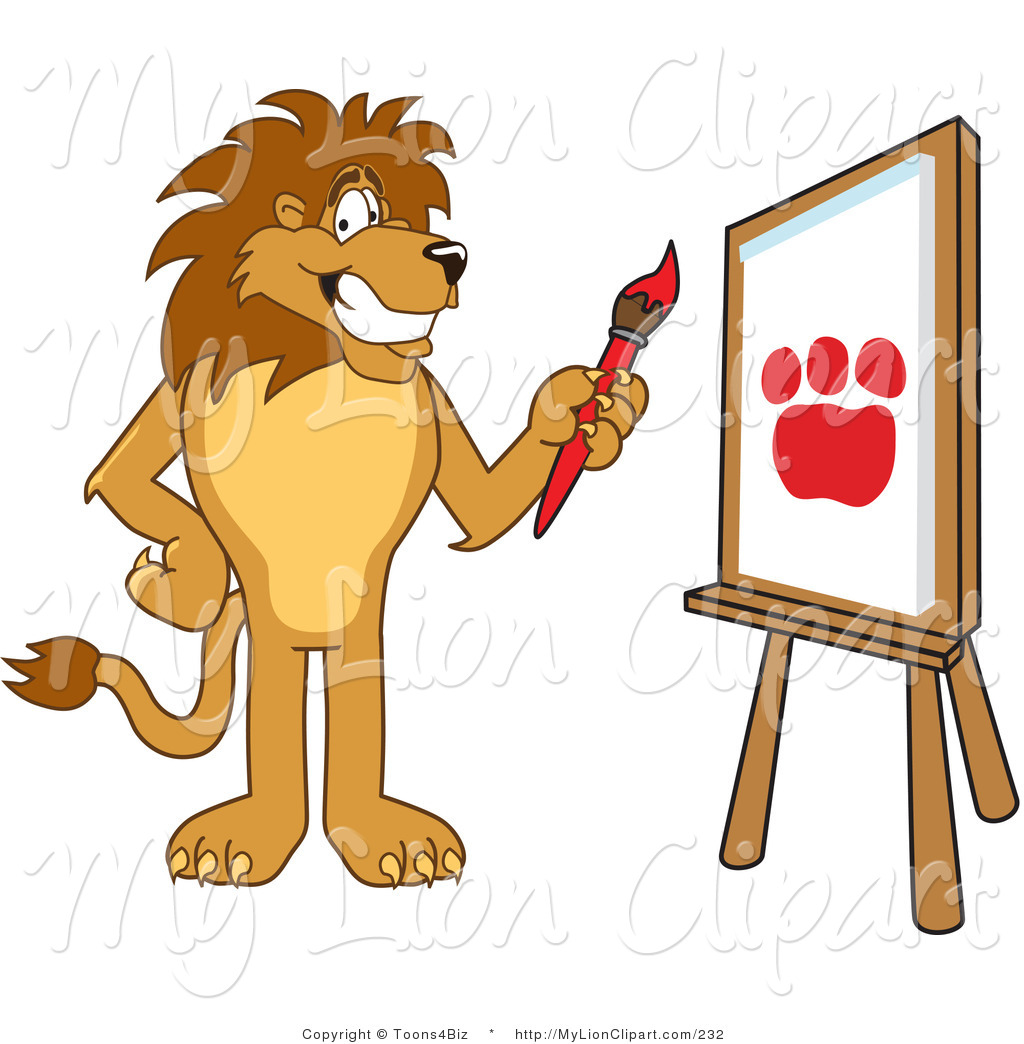 1024x1044 Clipart of a Proud Lion Character Mascot Painting by Toons4Biz
