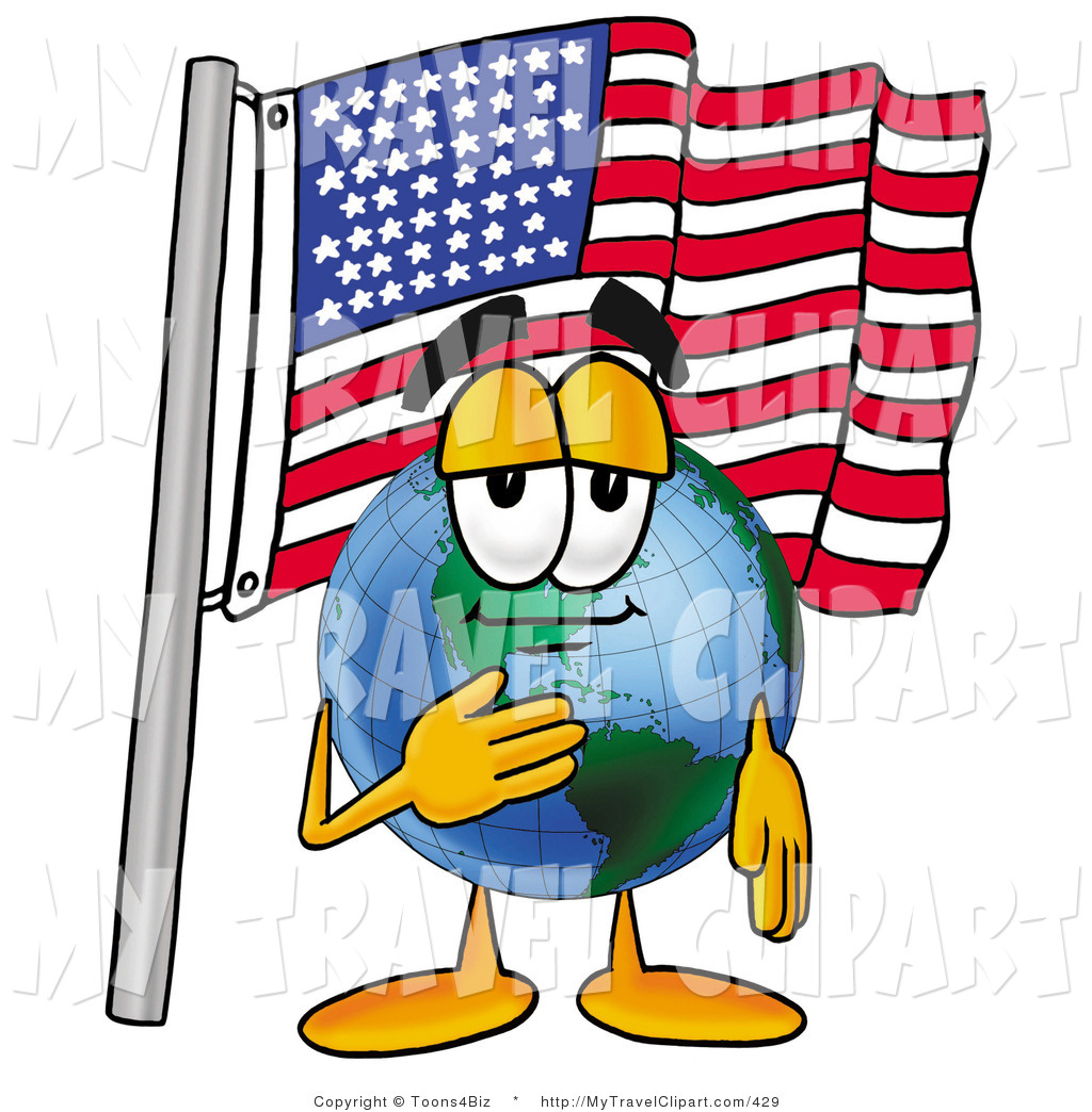 1024x1044 Clipart of a Proud Patriotic World Earth Globe Mascot Cartoon