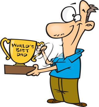 323x350 Cartoon Clip Art Illustration of a Proud Father Holding a Trophy