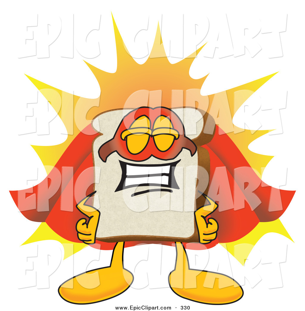 1024x1044 Vector Clip Art of a Proud Slice of White Bread Food Mascot