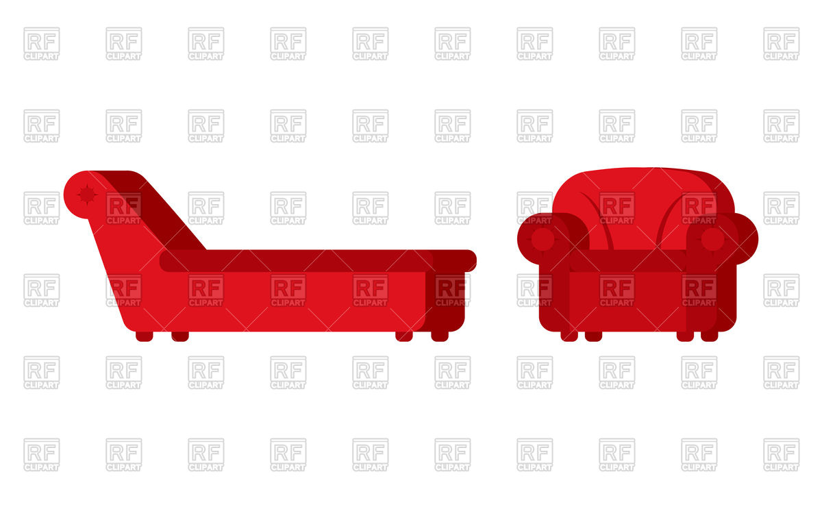 1200x743 Red Couch And Chair Of Psychologist Royalty Free Vector Clip Art