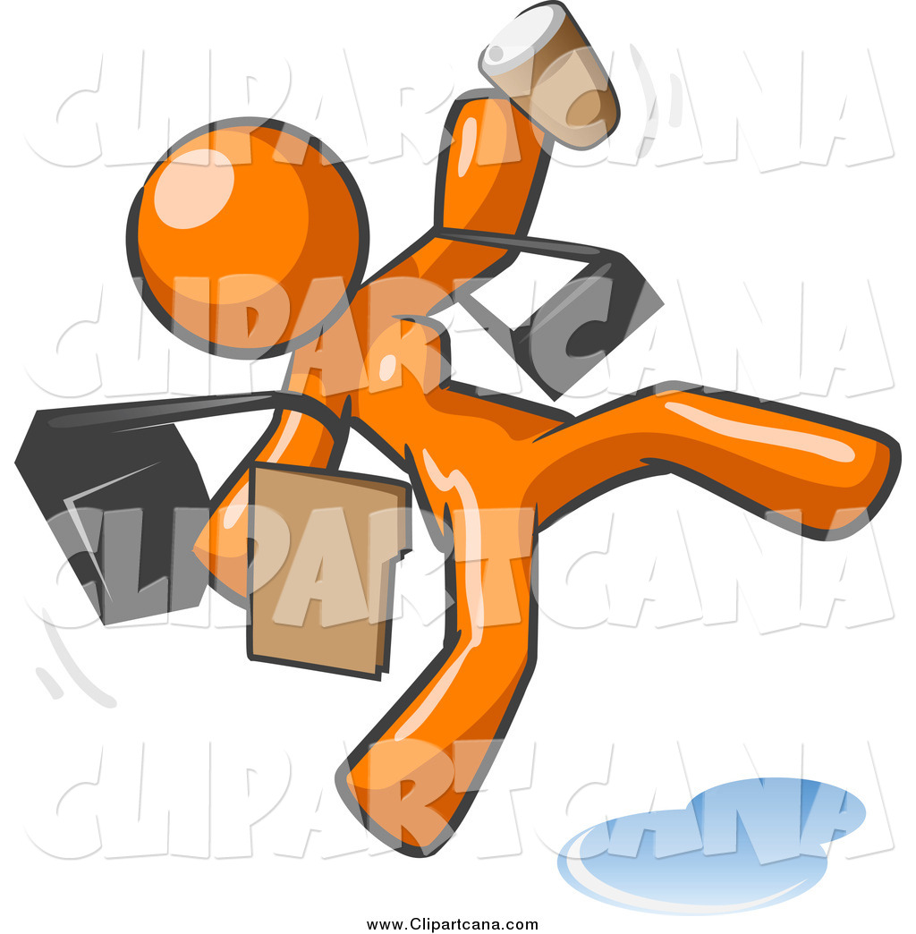 1024x1044 Clip Art A Late And Rushed Orange Woman Slipping On A Puddle
