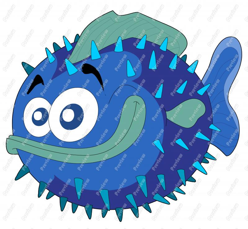 800x737 Puffer Fish Clip Art